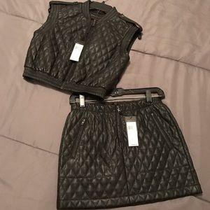 BCBG Quilted Leather Vest & Skirt set